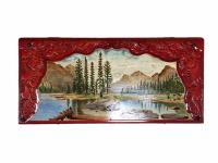 Нарды Пейзаж (горы, лес, озеро), ручная работа, 350x700